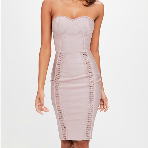 bf2c3c56af7 NWT Missguided Bandage Bustcup Metal Strap Midi